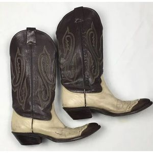 Vtg Nocona cowgirl boots leather lizard 7